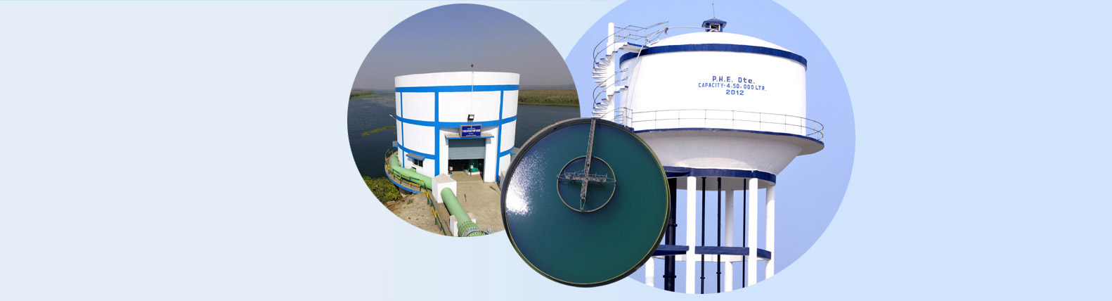 Collage images of OHR, Pump House & Clariflocculator of a WTP.