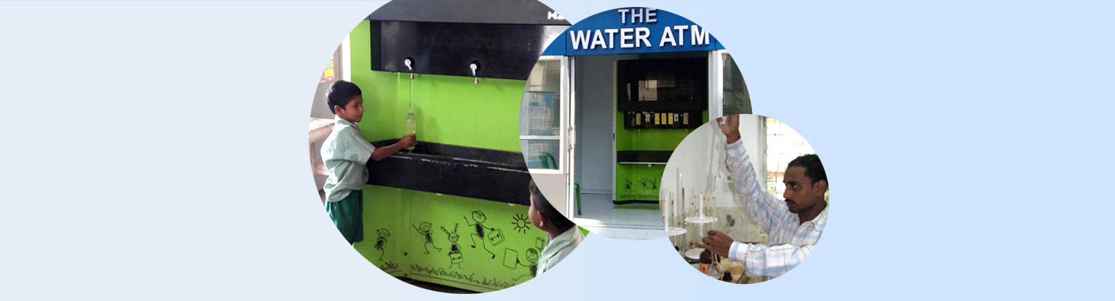 School students collecting drinking water from Water ATMs installed near schools & water sample test
