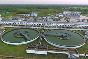 Panoramic View of Clariflocculators of inside Water Treatment Plant Campus.